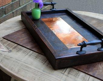 Copper Tray. Copper Serving Tray. Copper Ottoman Tray. Copper Centerpiece. Copper Wood Serving Tray. 13 x 24.  Dark Brown Finish