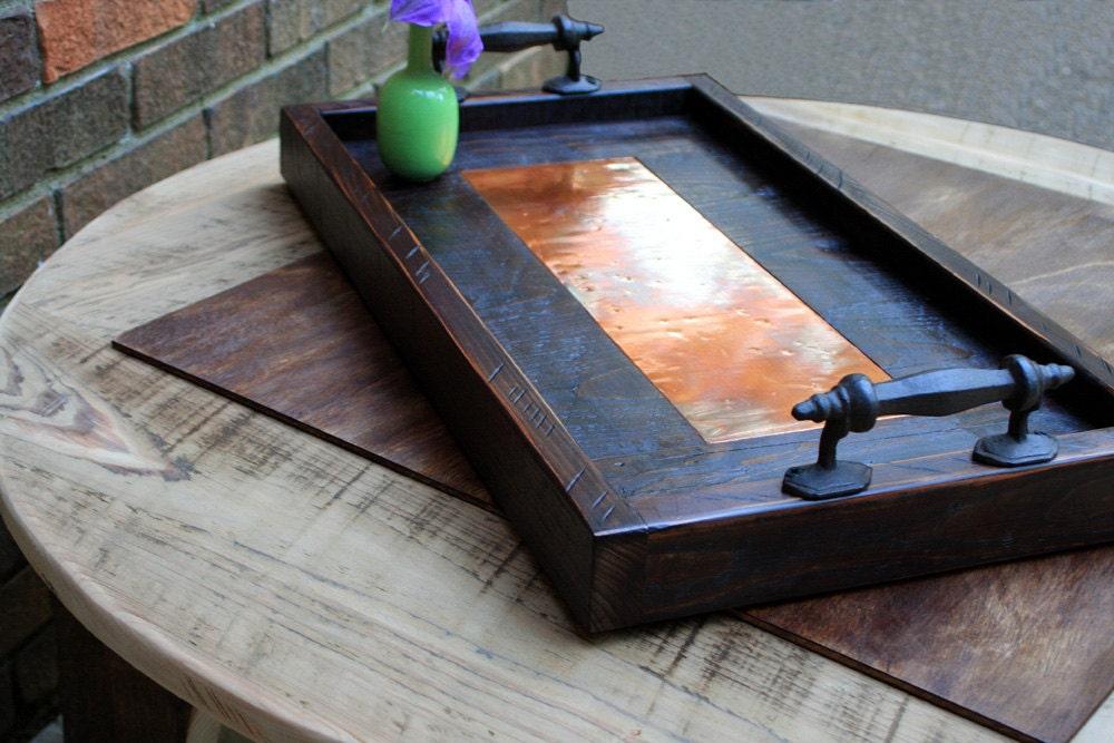 Copper Tray. Copper Serving Tray. Copper Ottoman Tray. Copper Centerpiece.  Copper Wood - Large Ottoman Tray. Large Serving Tray. Large Mosaic Tile