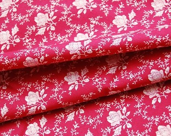 "Half Yard ""Silhouette Rose"" in Deep Red 100% Cotton Fabric Quilt"