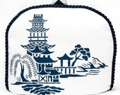 Tea Cozy/Cosy - Pagoda - Willow Design with Chevron Navy and White Back / Navy Braid Piping / Handstenciled