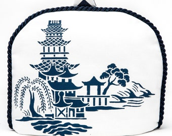 Tea Cozy/Cosy - Chinoiserie -Pagoda - Willow Design with Chevron Navy and White Back / Navy Braid Piping / Handstenciled