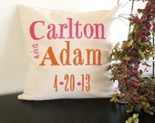 Custom Color Wedding Pillow Cover - Modern Typography - Hand Stamped