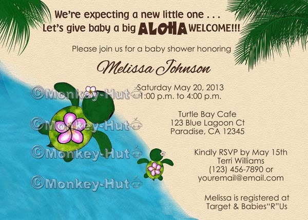 turtle baby shower invitations    honu sea turtles    by