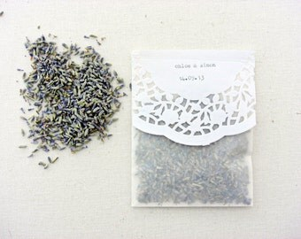 wedding confetti bags, 20 glassine bags, dried lavender, doilies, personalized
