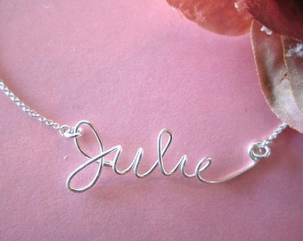 Sterling Silver Wire Name Necklace with Swarovski birthstone crystal...sorority, handmade jewelry, everyday, wedding, bridesmaid gift