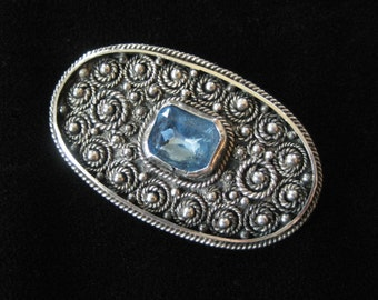 Sterling Silver Filigree Brooch Made in Israel