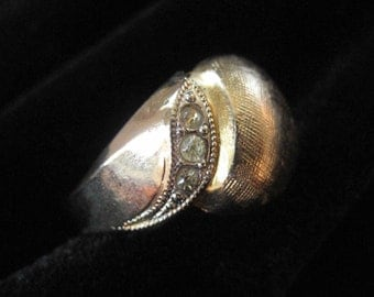 Domed Gold Filled Ring with Rhinestones, Size 6