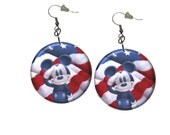 Patriotic Mickey Mouse  Earrings Red White Blue Christmas Stocking Stuffer 1.25 inch Button Dangle