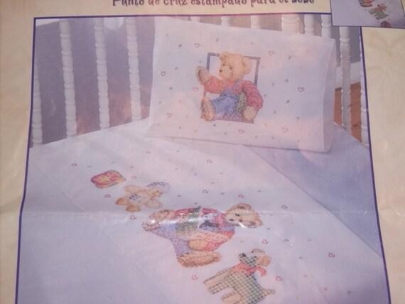 Bucilla Blue Jean Teddy Bear Sheet And Pillow Case Cross