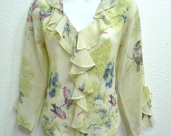Vintage Silk Blouse Bird Print Ruffle Beaded Party Holiday blouse Small