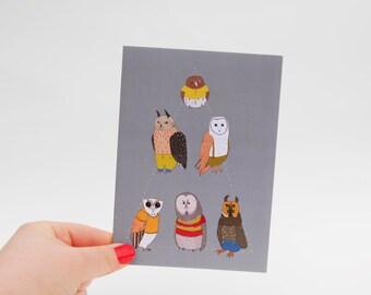 Triangle Owls Card