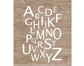 Faux Bois Woodgrain Alphabet Typography Home Decor Art Print -  8 x 10 - Kid's Room Decor Baby Decor