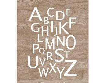 Faux Bois Woodgrain Alphabet Typography Home Decor Art Print -  8 x 10 - Kid's Room Decor Baby Decor
