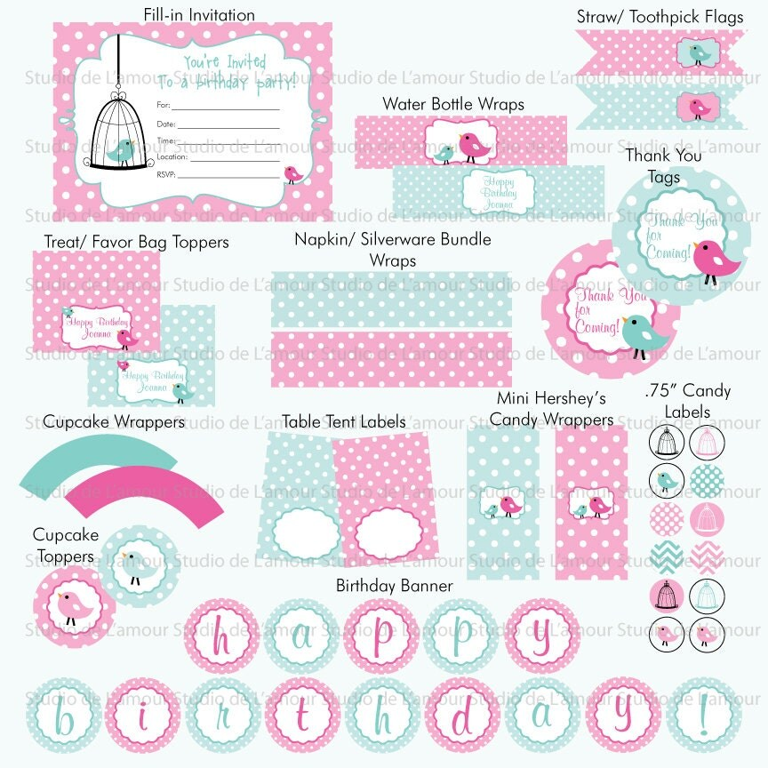 printable bird theme birthday baby shower diy party package