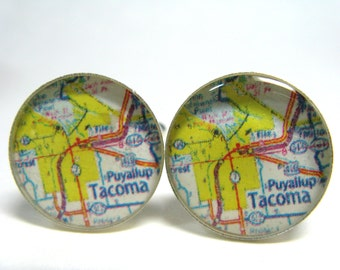 Vintage map cufflinks - Puyallup and Tacoma Washington 1970s  - silver-plated round cuff links
