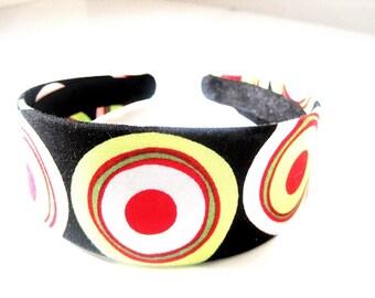 Black Mod Colorful Circles Headband 2 Inch