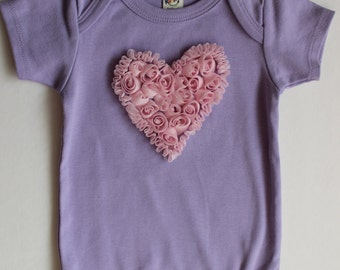 CLEARANCE Heart onesie, Applique onesie, shabby flower heart onesie
