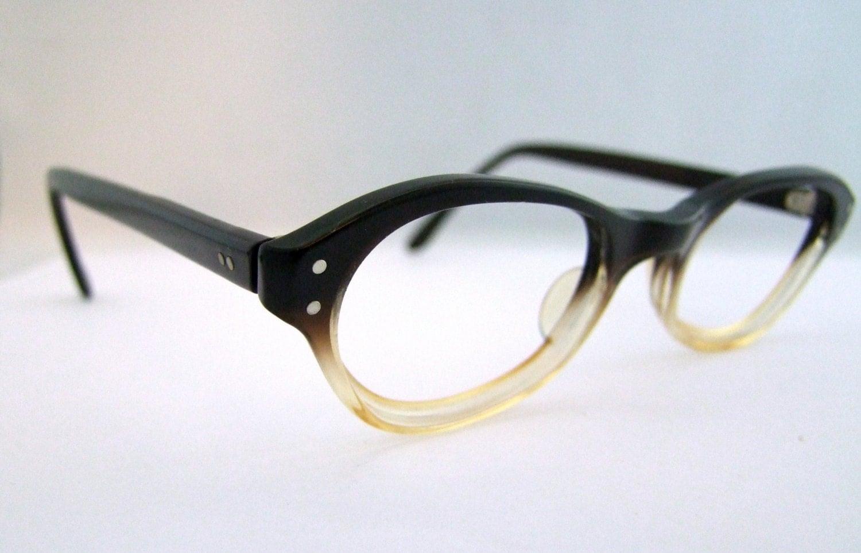 Eyeglass Frames Two Tone : 1960s Two Tone Womens Geekish Eyeglasses Bausch by ...