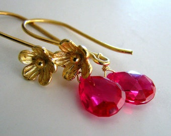 Red Topaz Earrings, Red Earrings, Gold Earrings, Red Topaz Gemstone, Gold Flower Blossom - Dorothy's Dream