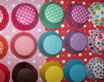 Cupcake Liners Red, Aqua, Purple, Pink, Teal,Rainbow & Solid colors too You Pick All Your Colors 2 Dozen(24)