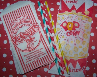 Popcorn & Peanut Bags Perfect For Movie Night- Circus or Carnival And Baseball Parties 24 Bags 12 of Each