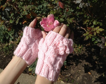 Pink Wild Rose Fingerless Gloves