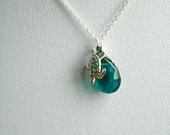 Teal Hydro Quartz and SterlingTurtle Necklace, Peacock Blue, Gemstone Necklace, Silver Necklace