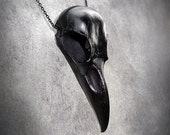 Black Raven Skull Jewelry - Cast Bone Resin Replica Necklace - Spooky Gift Taxidermy Crow Poe Goth Bird Skull