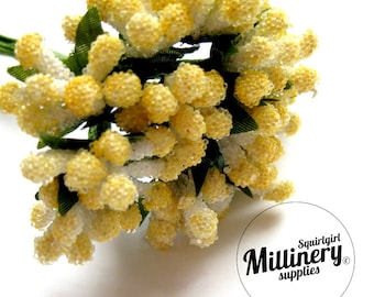Yellow Micro Bead Berry Flower Picks / Stamens for Millinery & Flower Making Bunch of 12