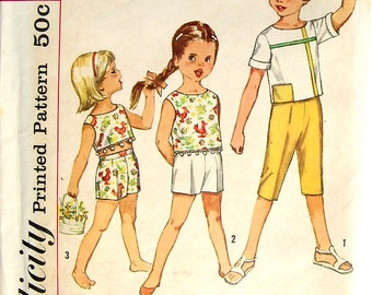 Vintage 60s Girls Childs Clothes Pattern Top Shorts Pants size 2 Simplicity 4462