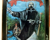 Jesuit Confirmation gift Canada New York France French USA Saint Jean de Brebeuf Retablo -Print - Art4thesoul North American Marytr