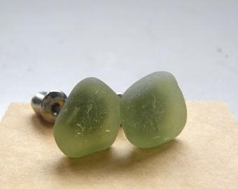 Mermaid Post Earrings - MEDIUM - Organic Sea Glass Earrings with Genuine Natural Amalfi Sea Glass peridot  green / recycle / vintage / nr117
