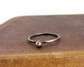 Oxidized sterling silver simple ball stack ring, hammered texture, eco friendly jewelry reclaimed sterling silver.