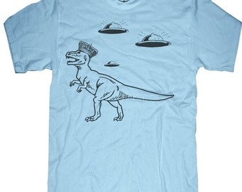 Mens DINOSAUR T-shirt --- UFO - sizes sm med lg xl xxl 3xl, 4xl, 5xl skip n whistle