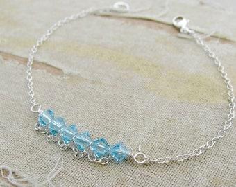 CHOOSE 1 Birthstone Bracelet---Sarah Bracelet-Mother's Day Bracelet- March Birthstone-Sterling Silver shown in Aquamarine
