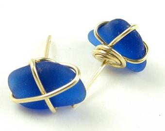 Rare Genuine Sea Glass Jewelry in Cobalt or Cornflower Sea Glass in 14k GF or Sterling Silver - Earrings