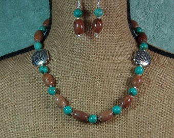 Native American Indian Painted Plains Jasper, American Turquoise, .925 Sterling Silver Necklace and Earrings