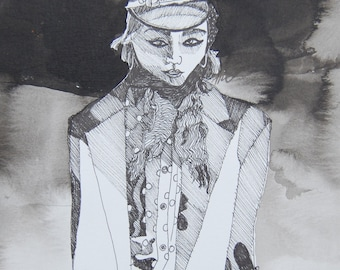 Ink painting in black and white of soldier girl