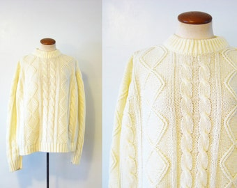 1970s Sweater Ski Bunny Ivory Cable Knit Pullover Oversize Boyfriend Fisherman Vintage 70s XL Extra Large L Jumper Cream Home Alone Slouchy