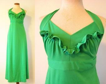 1970s Halter Dress Green Ruffled Bust Empire Waist Maxi Dress Backless Sundress Mod Vintage 70s Festival S Small