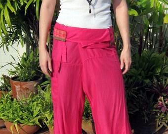 Pink Lounge Pants - Thai Fisherman Hilltribe Pants - Travel / Meditation / Maternity / Beachwear