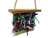 Bird Bedding Basket - Great for scrap yarn and fabric and wedding favors