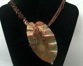 Verdigris Copper Fold Formed Leaf Necklace