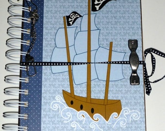 SALE...Boy's Journal - Pirate Ship - Boys Diary, UNIQUE