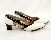 1960s black white shoes, pumps with open sides, polka dot detail, leather heels, Size 6N - vintagerunway