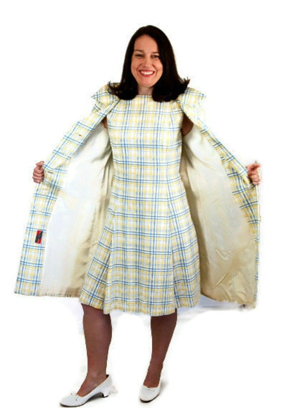 Reserved 1960s Dress And Matching Coat Yellow Blue Plaid