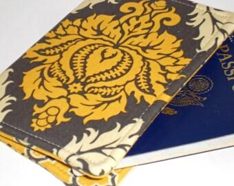 Passport Cover - Grey Golden Damask Passport notebook fabric cover