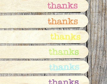 "Jumbo Wooden Popsicle Sticks, ""thanks"" Girls Rainbow Stamped Popsicle Sticks, Rice Crispy Pop Sticks, Treat Sticks (6"" - 18ct) Ready to Ship"