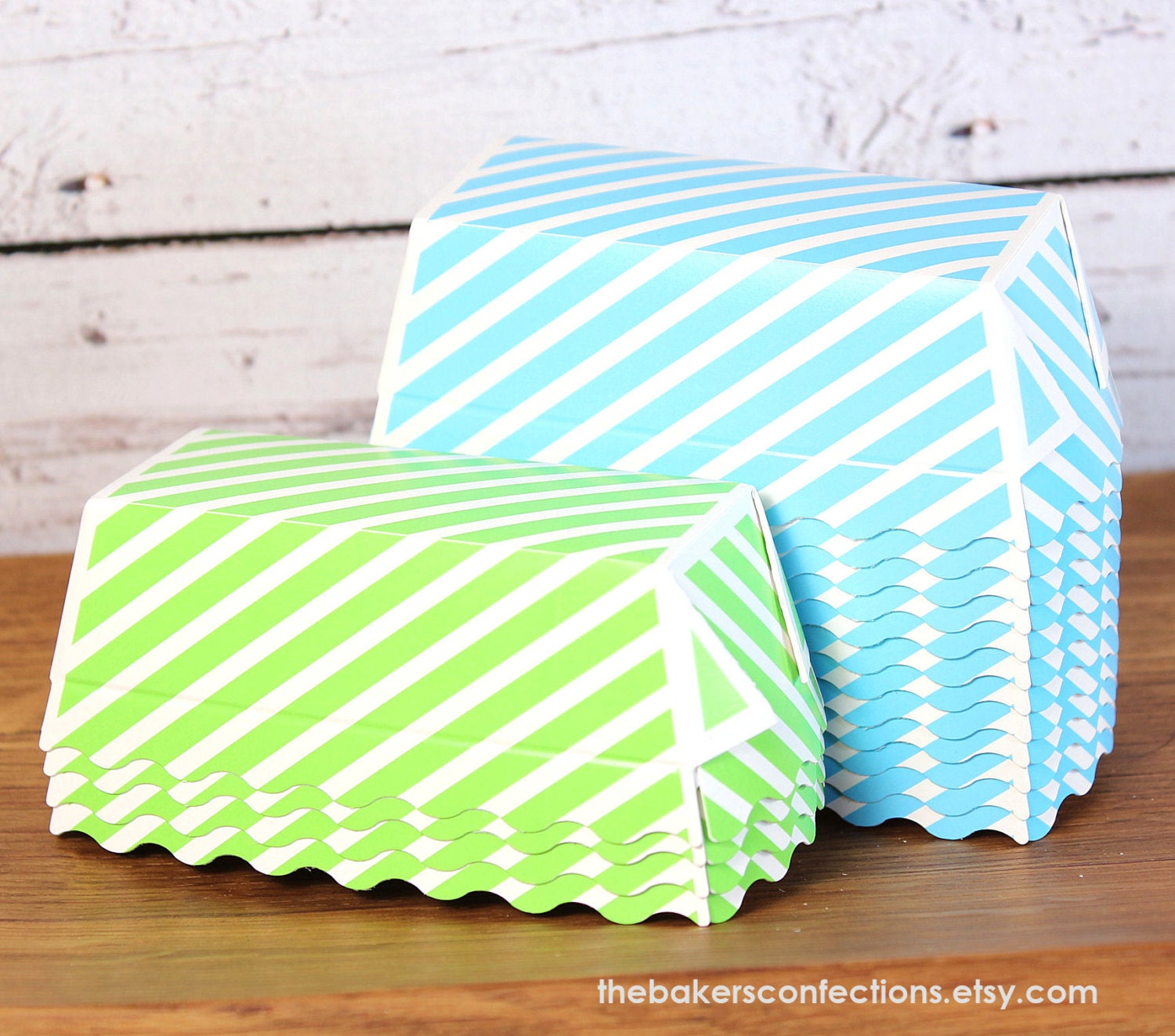 Mini Paper Loaf Baking Pans In Blue And Lime Stripe 12
