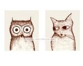 owl and pussycat double portrait - fine art print (medium)